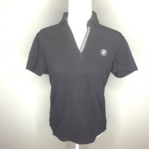BMW logo cotton blend black polo shirt
